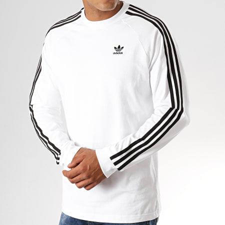 adidas - Tee Shirt Manches Longues 3 Stripes ED5959 Blanc Noir