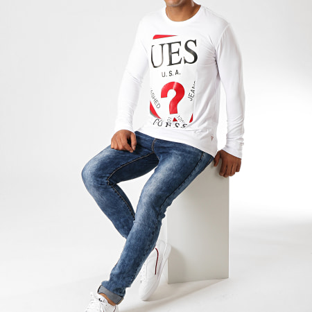 Guess - Tee Shirt Manches Longues M94I50-J1300 Blanc Noir Rouge
