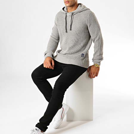 Jack And Jones - Pull A Capuche Xavier Gris Chiné