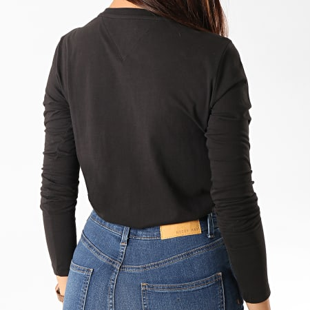 Tommy Hilfiger Jeans - Tee Shirt Manches Longues Femme Square Logo 7159 Noir