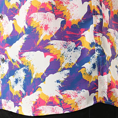 Classic Series - Chemise Manches Courtes 1457 Blanc Violet Rose Jaune Bleu