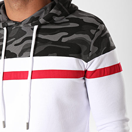 LBO - Sweat Capuche Tricolore 815 Camouflage Gris Rouge Blanc