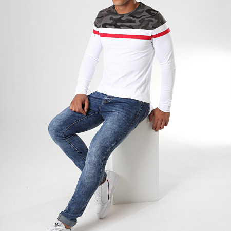 LBO - Tee Shirt Manches Longues Tricolore 822 Camouflage Gris Rouge Blanc