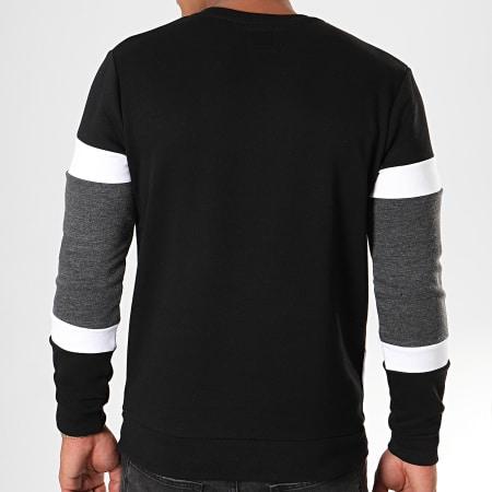 LBO - Sweat Crewneck Tricolore 818 Gris Anthracite Blanc Noir