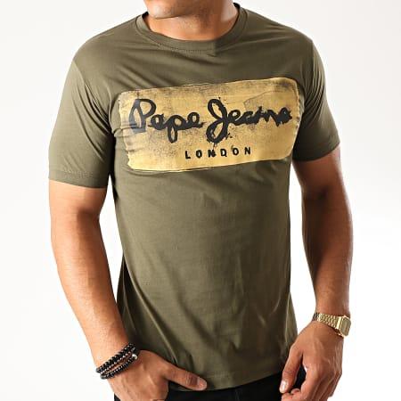 Pepe Jeans - Tee Shirt Slim Charing Vert Kaki