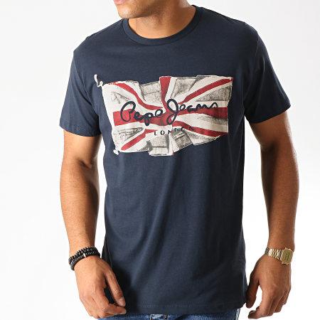 Pepe Jeans - Tee Shirt Flag Logo Bleu Marine