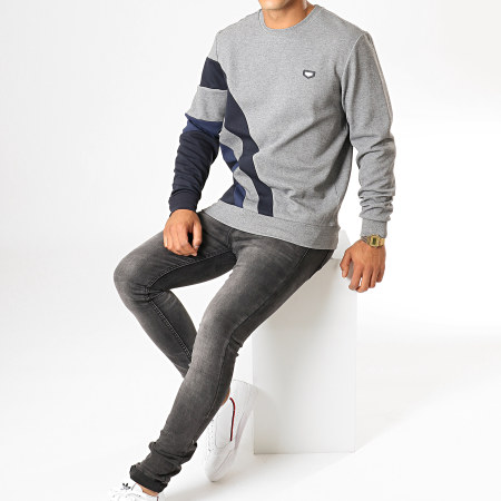 Antony Morato - Sweat Crewneck British Technology MMFL00568 Gris Chiné Bleu Marine
