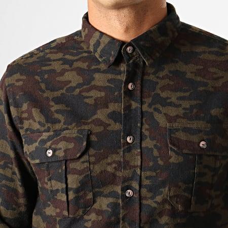 Brave Soul - Chemise Manches Longues Camouflage York Vert Kaki Marron Noir