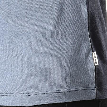 Jack And Jones - Tee Shirt Slim A Bandes Temp Bleu Marine Bleu Clair Gris Chiné