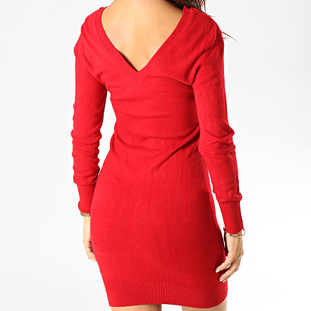 Kaporal - Robe Pull Col V Femme Xerah Rouge