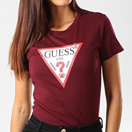 Guess - Tee Shirt Femme W94I29-K19U1 Bordeaux Blanc Rouge