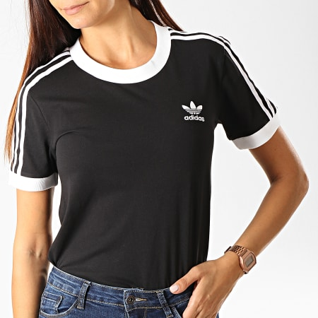 adidas - Tee Shirt Femme 3 Stripes ED7482 Noir Blanc