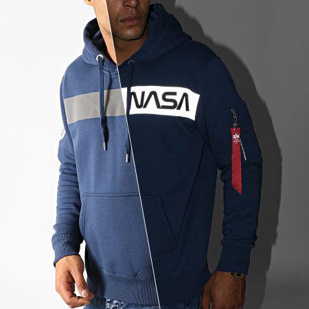 Alpha Industries - Sweat Capuche NASA RS Bleu Marine