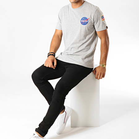 Alpha Industries - Tee Shirt Space Shuttle Gris Chiné