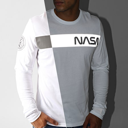 Alpha Industries - Tee Shirt Manches Longues NASA RS Blanc