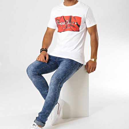 Pepe Jeans - Tee Shirt Slim Raury Blanc Rouge