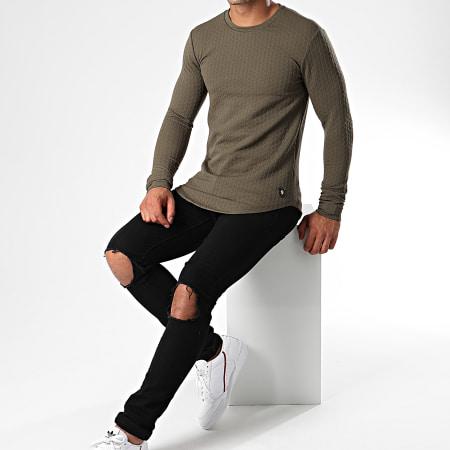 Uniplay - Tee Shirt Oversize Manches Longues UY429 Vert Kaki
