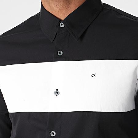 Calvin Klein Jeans - Chemise Manches Longues Chest Colour Block 3927 Noir Blanc