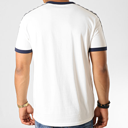 Fred Perry - Tee Shirt Taped Ringer M6347 Blanc Cassé Bleu Marine