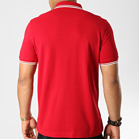 Fred Perry - Polo Manches Courtes Twin Tipped M3600 Rouge Bordeaux Blanc
