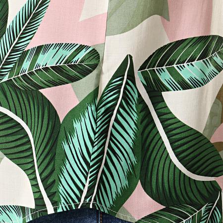 Frilivin - Chemise Manches Courtes BM1043X Blanc Vert Floral