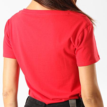 Guess - Tee Shirt Col V Femme W94I62-K7DN0 Rouge Argenté