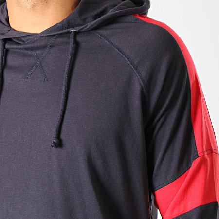 Brave Soul - Tee Shirt Manches Longues Capuche Sutton Bleu Marine Rouge