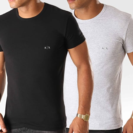 Armani Exchange - Lot De 2 Tee Shirts 956005-CC282 Noir Gris Chiné