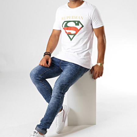 Superman - Tee Shirt Superman Institutional Tricolore Blanc