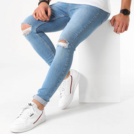 LBO - Jean Super Skinny Fit Troué 925 SS-13B Denim Bleu Clair