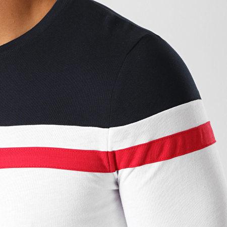 LBO - Tee Shirt Manches Longues Tricolore 819 Bleu Marine Rouge Blanc