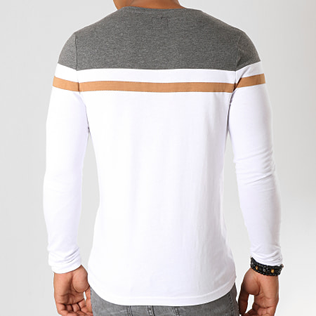 LBO - Tee Shirt Manches Longues Tricolore 844 Anthracite Blanc Camel