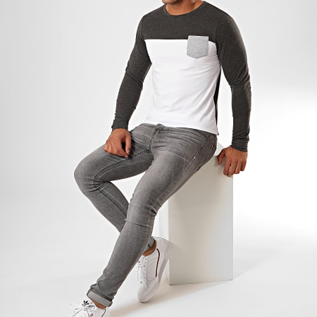 LBO - Tee Shirt Manches Longues Avec Poche 899 Anthracite Chiné Blanc