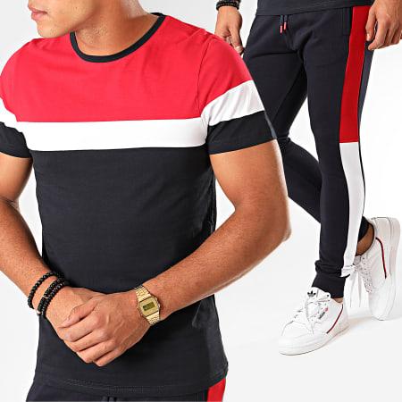 LBO - Ensemble Tee Shirt Et Pantalon Jogging Tricolore 825 Bleu Marine Blanc Rouge