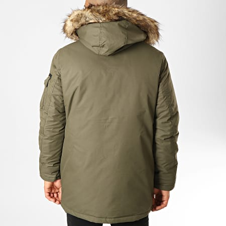 Jack And Jones - Parka Fourrure Globe Vert Kaki