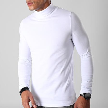 LBO - Lot De 2 Tee Shirt Col Roulé Manches Longues Uni 892 Noir Et Blanc