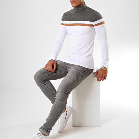 LBO - Tee Shirt Col Roulé Manches Longues Tricolore 901 Blanc Anthracite Camel
