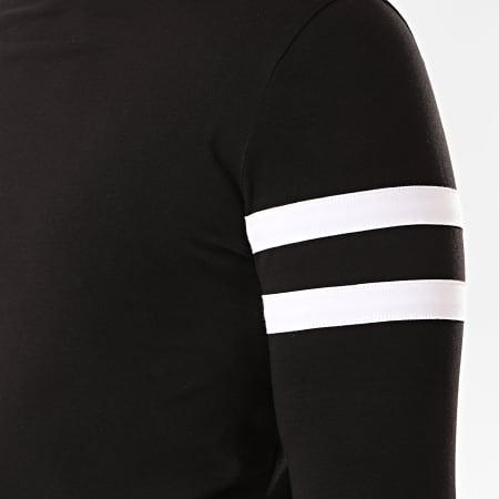 LBO - Tee Shirt Col Roulé Manches Longues Avec Bandes Blanches 891 Noir