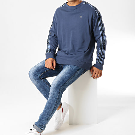 Tommy Hilfiger Jeans - Sweat Crewneck A Bandes Washed Tape 7124 Bleu Clair
