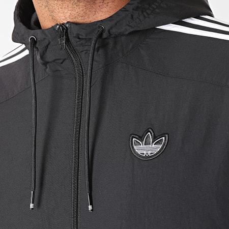 adidas - Veste Zippée Capuche A Bandes Outline Trefoil ED4688 Noir Blanc