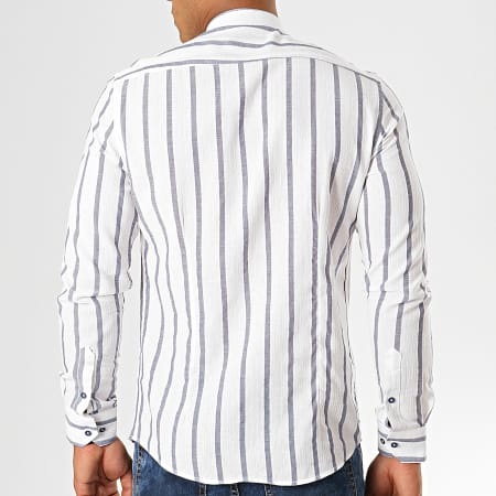 Classic Series - Chemise Manches Longues A Rayures Y-2068 Blanc Bleu Clair