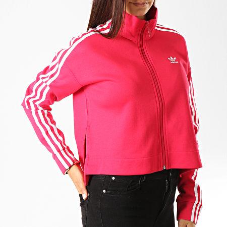 adidas Veste Zippée Crop Femme A Bandes ED4755 Rose Fushia