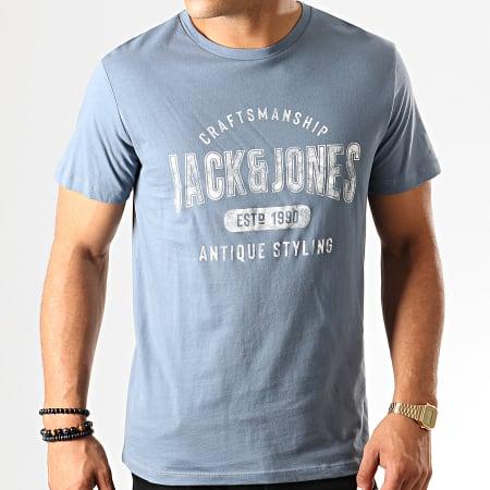 Jack And Jones - Tee Shirt Custom Bleu Clair