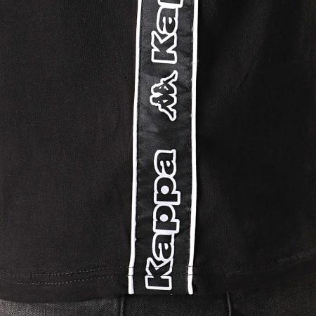 Kappa - Tee Shirt A Bandes Logo Tape Raggio 304RV30 Noir Blanc