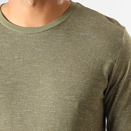 Jack And Jones - Tee Shirt Manches Longues Signs Vert Kaki Chiné