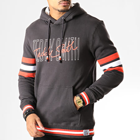 Teddy Smith - Sweat Capuche Fady Gris Anthracite Corail Blanc