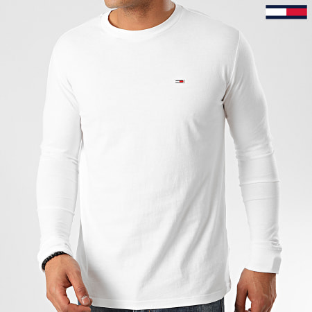 Tommy Jeans - Tee Shirt Manches Longues Classics 6959 Blanc