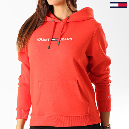 Tommy Hilfiger Jeans - Sweat Capuche Femme Clean Linear Logo 7344 Rouge