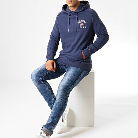 Tommy Hilfiger Jeans - Sweat Capuche Washed Chest Graphic 7033 Bleu Marine