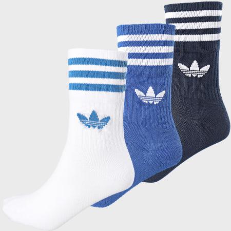 adidas - Lot De 3 Paires De Chaussettes Mid Cut Crew ED9395 Noir Blanc Bleu Roi
